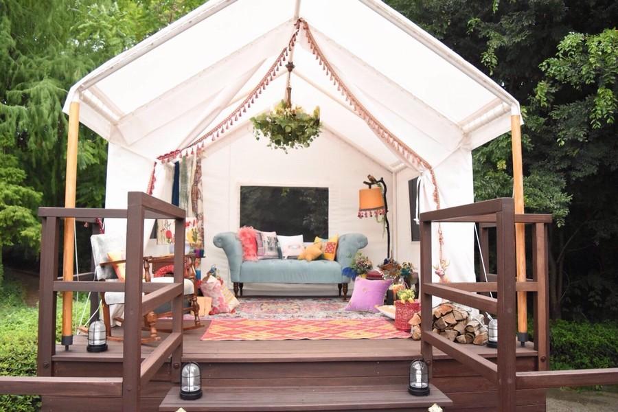 テントを張って過ごすリラックス空間